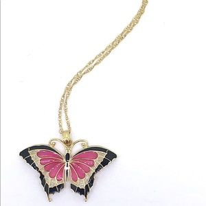 "Enamel 14K Gold Butterfly 16"" Necklace & Pendant"